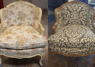 On the left, there's a chair with flowers on it. On the right, there's a chair with floral patterns.