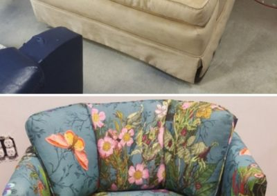 On top, there is a chair with neutral coloring. On the bottom, there's a chair with colorful fabric.