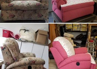 On top, there is a set of chairs with baggy fabric. On the bottom, there's a set with smooth fabric.