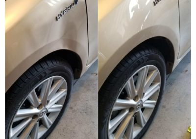 On the left, there's a gold car that's dented by the tire. On the right, there's another fixed car.