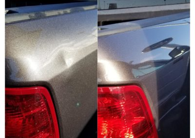 On the left, there is a car with a dent by the brake light. On the right, it does not have a dent.