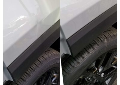 On the left, there is a car that's dented above the tire. On the right, there is a repaired car.