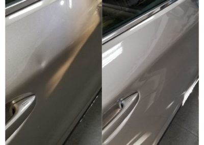 On the left, there is a car that's dented above the handle. On the right, there is a repaired car.