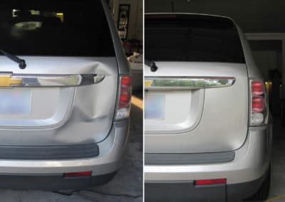 On the left, there's a car with a dent by the brake light. On the right, it doesn't have a dent.