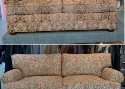 On top, there's a patterned couch. On the bottom, there's a couch that's patterned differently.