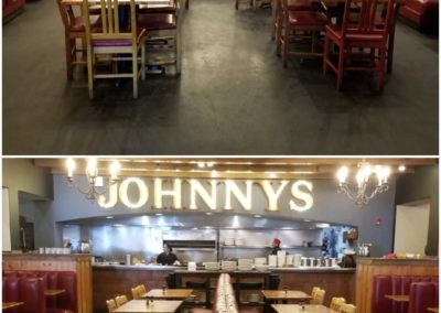 On top, there's a diner with wood chairs. On the bottom, there's the same room with booth seats.