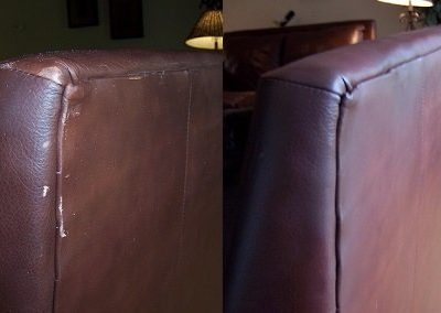 Leather corner tear before n after