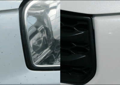 On the left, there's a car with multiple chips on it. On the right, it has a smoother finish.