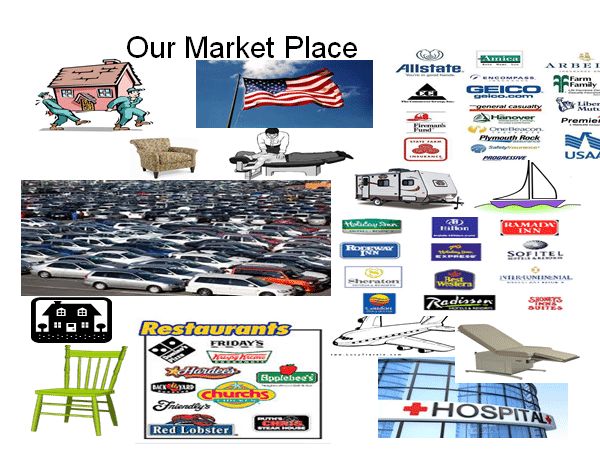 The text 'Our Market Place' is placed above multiple images showing many different businesses.