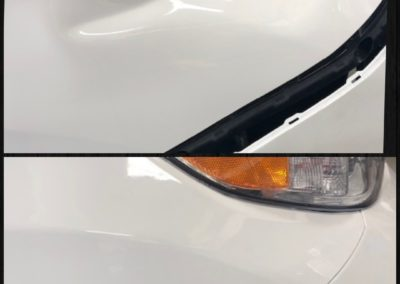 On the top, there is a car with a dent by the hood. On the bottom, it does not have a dent.