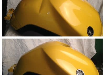 A Gas tank with dent vs. a Gas tank without dent