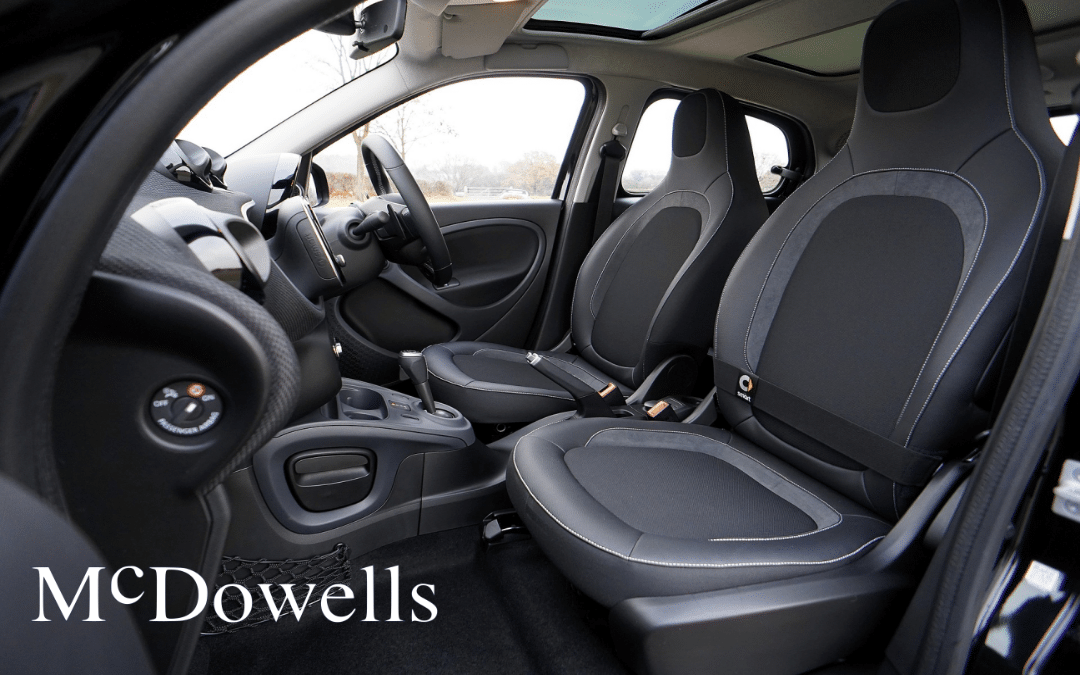 A new car with black upholstery