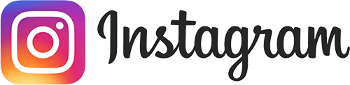 A rectangular social media logo of Instagram. The logo is on the left and the text is on the right.