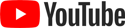 A rectangular social media logo of YouTube. The logo is on the left and the text is on the right.