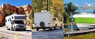 From left to right: RV driving by red rocks, RV driving through forestry, and RV parked by a tree.